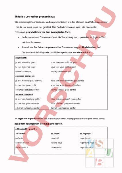 Musterbrief Angebot Französisch Www Unterrichtsmaterial Ch Franz 195 182 Sisch Grammatik Verbes Pronominaux Arbeitsbl 195 164 Tter