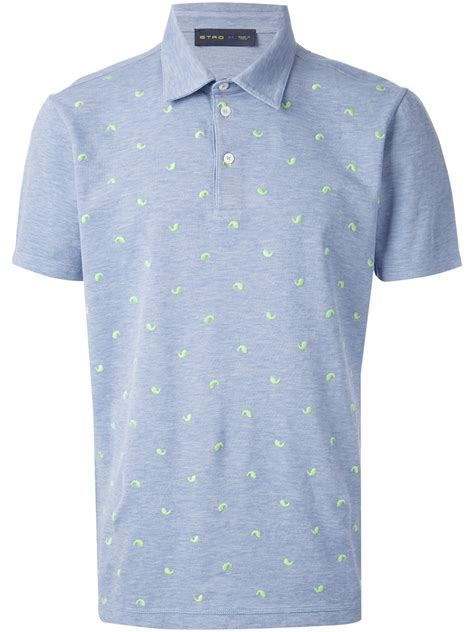 pattern polo shirt etro embroidered pattern polo shirt in blue for men lyst