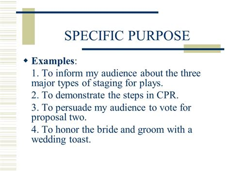 For Specific Purpose speech pre planning before you begin writing any speech
