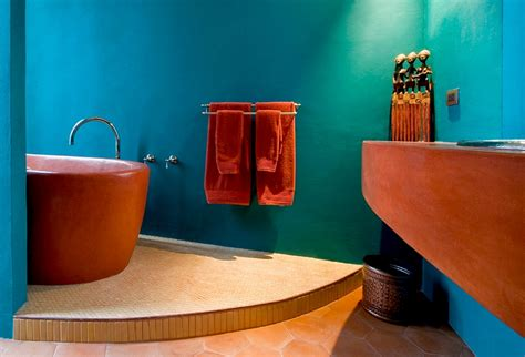 orange and turquoise bathroom 25 bathrooms that beat the winter blues with a splash of