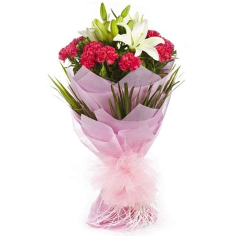 Housewarming Gifts India lily and carnation bouquet buy gifts online