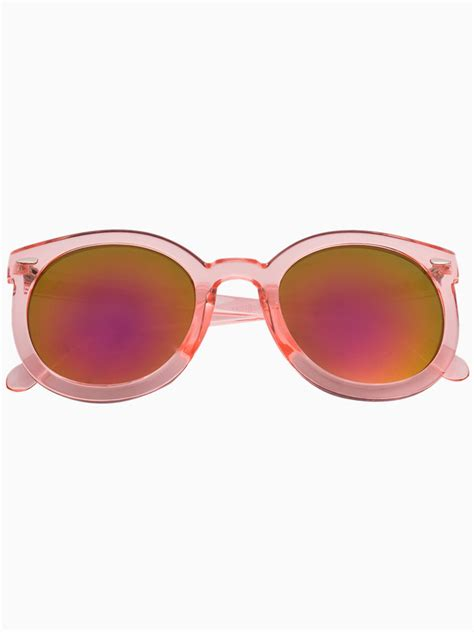 0204s Pink Pink Mirror Lens choies pink transparent arrow frame sunglasses with mirror lens