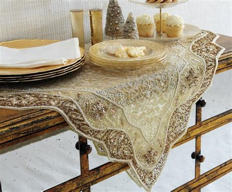 Dining Table Linens Golden Embroidered Table Linen