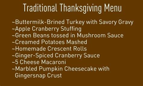 traditional thanksgiving menu over the river through