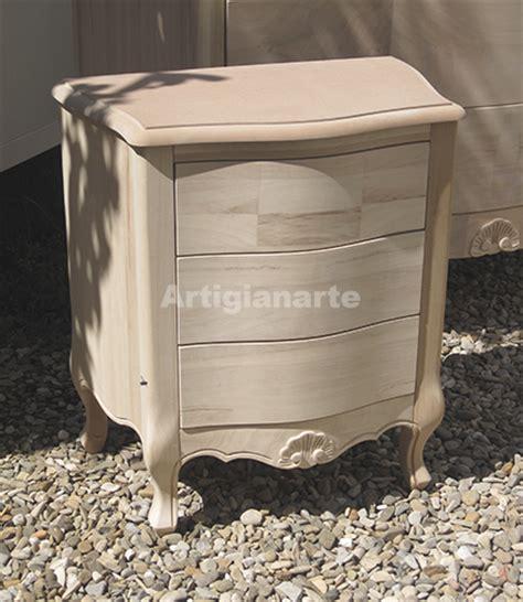 comodini legno grezzo comodino foglia artigianarte