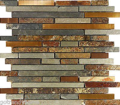 Sle Rustic Copper Linear Natural Slate Blend Mosaic | sle rustic copper linear natural slate blend mosaic