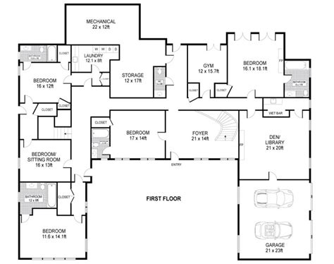 U Shaped House Plans Single Level Home Ideas Floor Single Level House Plans With Courtyard