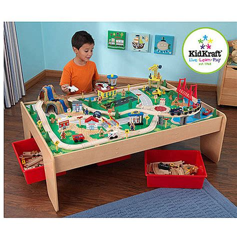 kid craft table kidkraft wooden table with 3 bins and 120
