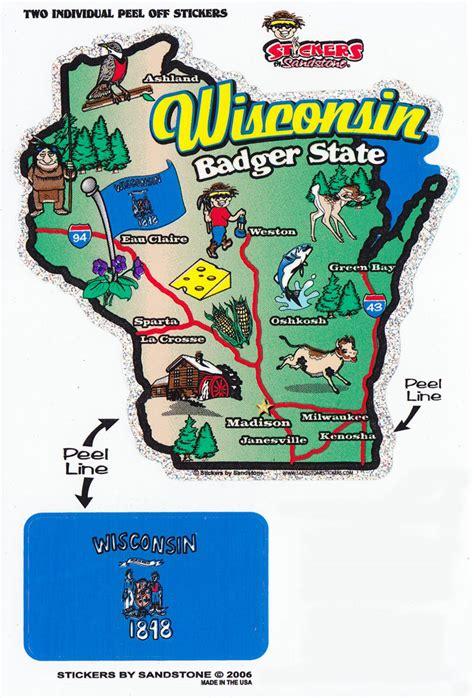 buy wisconsin state map die cut sticker flagline
