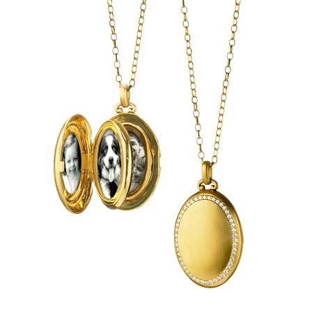 18k yellow gold 4 image oval locket with border