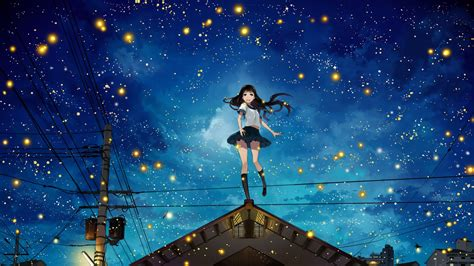 anime girl with fireflies night power lines rooftops stars anime girls original