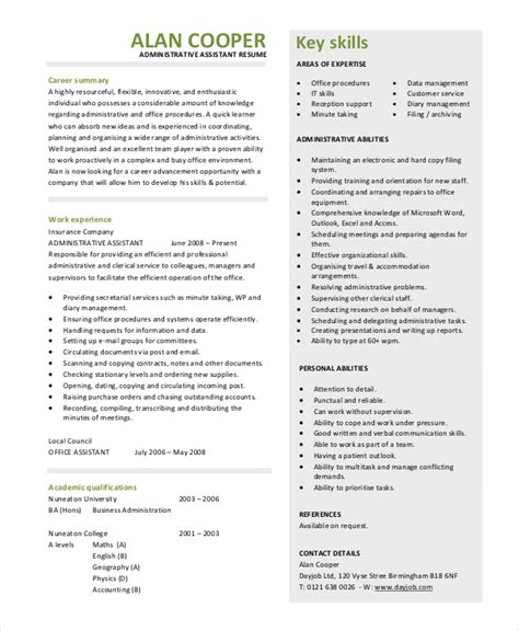 Administrative Assistant Resume Summary Exles by Sle Resume Summary Statement 9 Exles In Word Pdf
