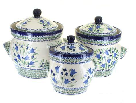 blue pottery blue tulip large canister set