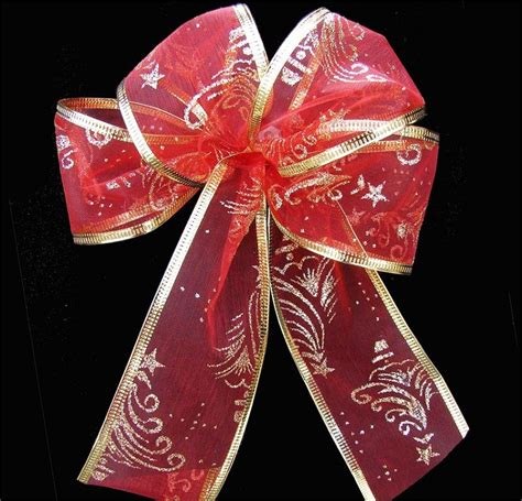 red gold christmas tree patterned wired ribbon 2 quot x 25 yards