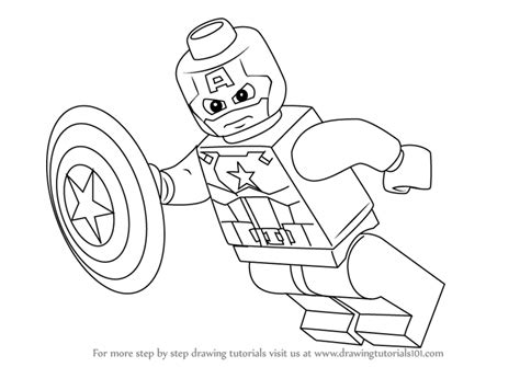 coloring pages lego captain america learn how to draw lego captain america lego step by step