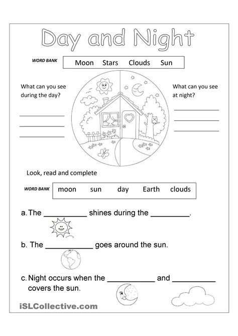 kindergarten activities day and night day and night free worksheet space our solar system