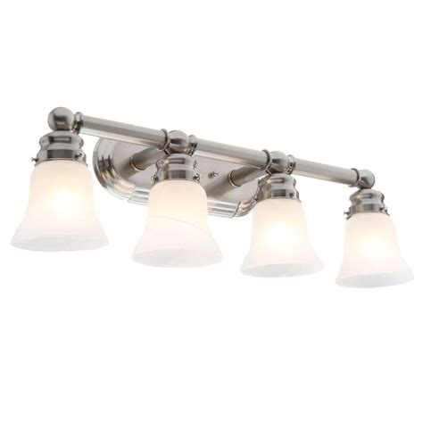 Hton Bay 4 Light Brushed Nickel Wall Vanity Light Cbx1394 2 Sc 1 The Home Depot by Hton Bay 4 Light Brushed Nickel Bath Light 05382 The Home Depot