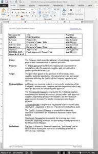 Purchasing Manual Template by Purchasing Procedure Iso 9001 2015 Iso Procurement Procedure