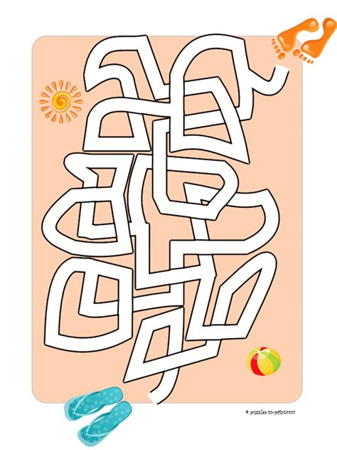 printable beach maze easy maze feet on the beach