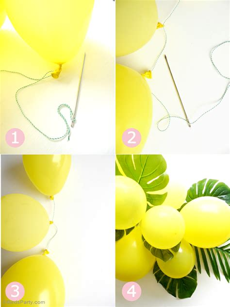 air balloon centerpiece diy diy balloon fronds tropical centerpiece