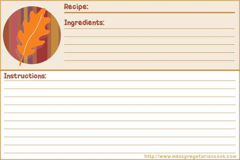 free alzheimer recipe card template autumn free recipe card templates lined