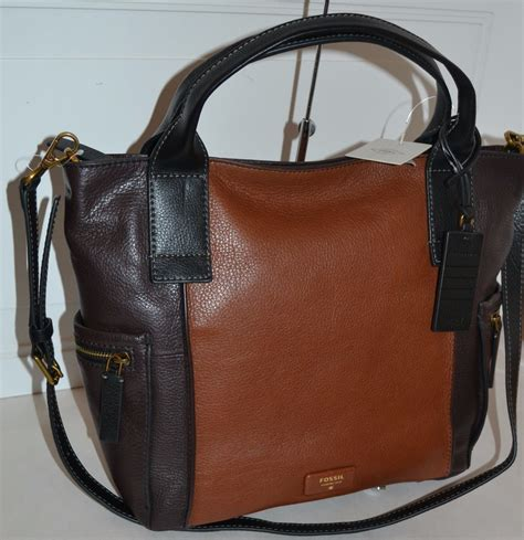 Emerson Large Multi Brown fossil emerson pebble leather satchel multi brown new with