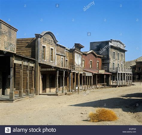 wild west town built as a film set for some of the early spaghetti stock photo royalty free