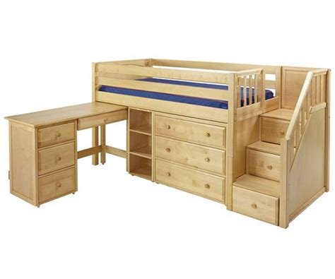 low loft bed with desk maxtrix great2l storage low loft bed with stairs desk