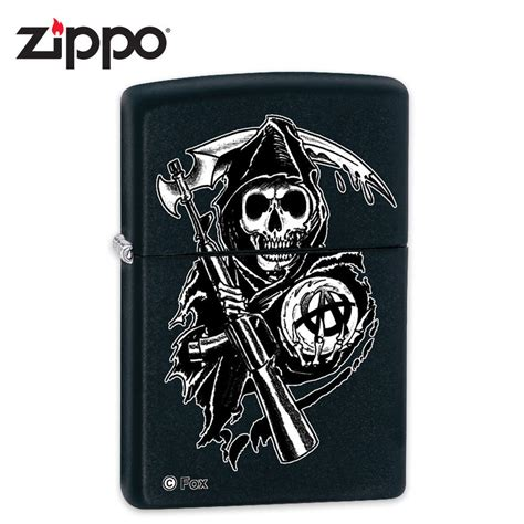 Zippo Skull Wrenches Black Matte 29088 zippo sons of anarchy skull sickle grim reaper black matte windproof lighter budk knives