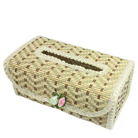 Bamboo Handmade - zigzag pattern flower decor bamboo handmade tissue box