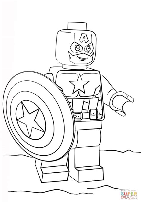 Lego Captain America Coloring Page Free Printable Captain America Color Page