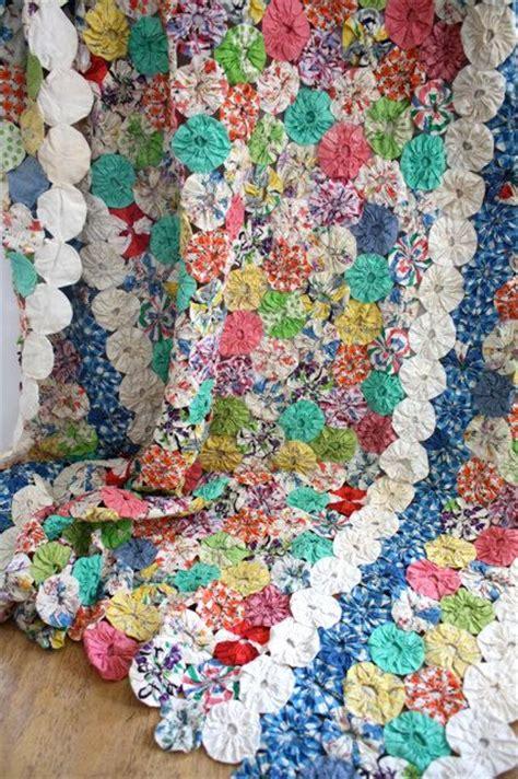 twin size quilts and coverlets vintage 1940 s twin size yo yo quilt coverlet yo yo