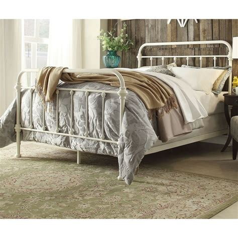 White Iron Beds antique white iron metal bed frame set size
