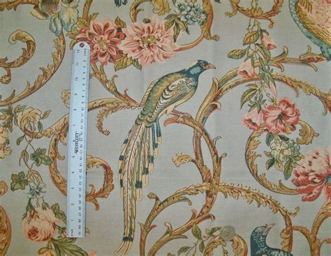 schumacher madrigal birds scrolls linen fabric blue rose multi