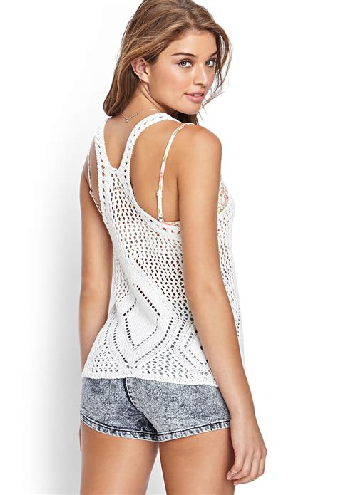 Tangtop Wanita Forever 21 lyst forever 21 crochet knit tank top in white