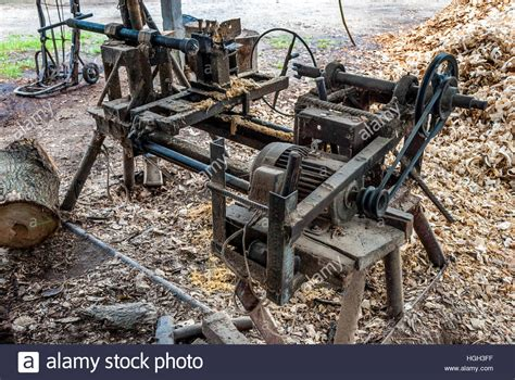 Old Home Made Wood Lathe Machine In Countryside Of