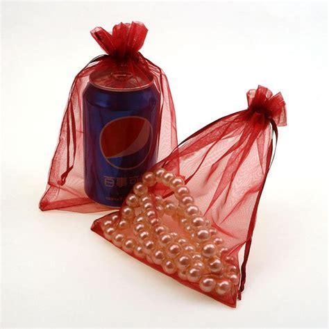 15x20cm deep red customize organza drawstring bags