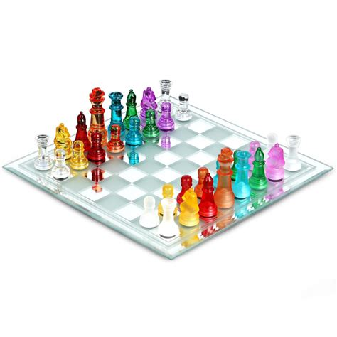colored glasses sets multi colored glass chess set at hayneedle
