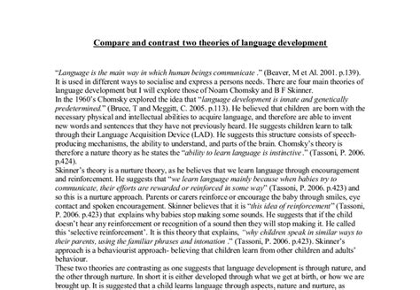 Compare Two Teachers Essay by Compare And Contrast Two Theories Of Language Development A Level Psychology Marked By