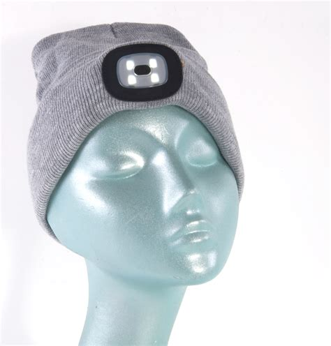 beanie hat with led light grey led beanie beanie hat with built in led torch