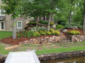 rock wall and natural landscaping hilltop landscaping lake
