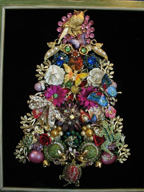 framed vintage jewelry christmas tree art garden turtle