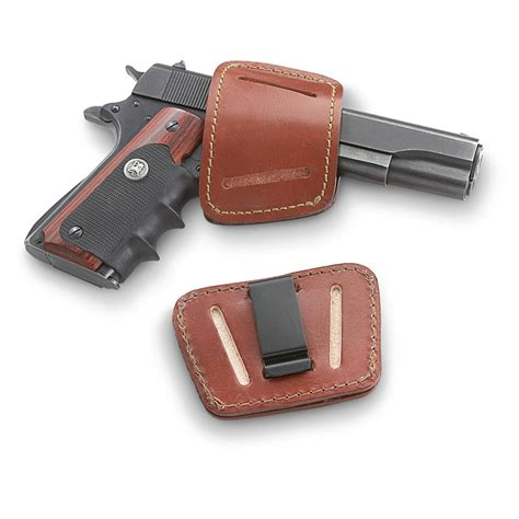 leather belt slide holster 9mm 45 acp handguns
