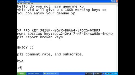 genuine xp pro key 100 working