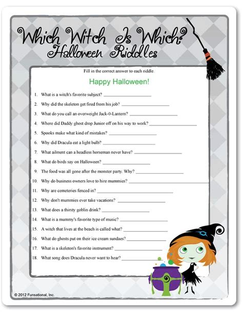 printable riddle quiz printable which witch is which halloween riddles school