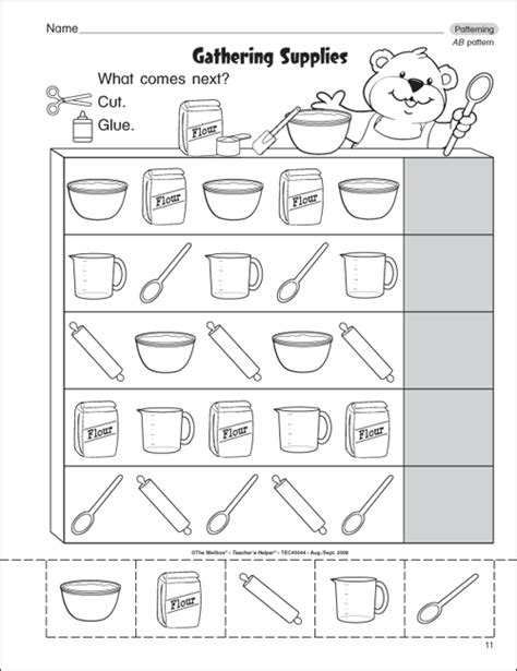 bead pattern worksheet patterns worksheets kindergarten free shape pattern