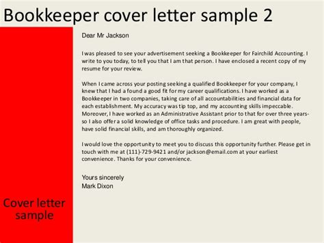 bookkeeper cover letter sles bookkeeper cover letter