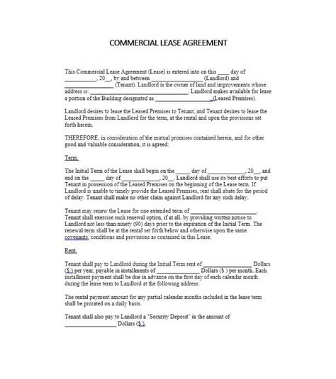 Commercial Lease Renewal Negotiation Letter 26 Free Commercial Lease Agreement Templates Template Lab