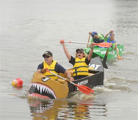aurora cardboard boat race aurora s cardboard boat race goes swimmingly for united