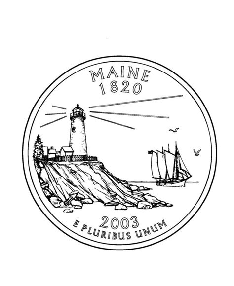 printable state quarter maine state quarter coloring page usa state quarters